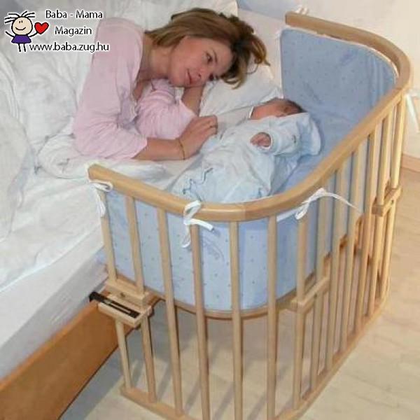 Praktikus ágy mellé szerelt csecsemőágy