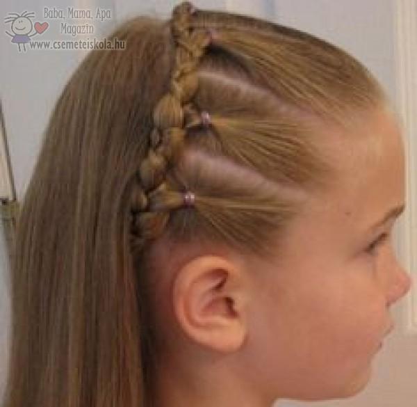 Sávos egységekben fonott haj